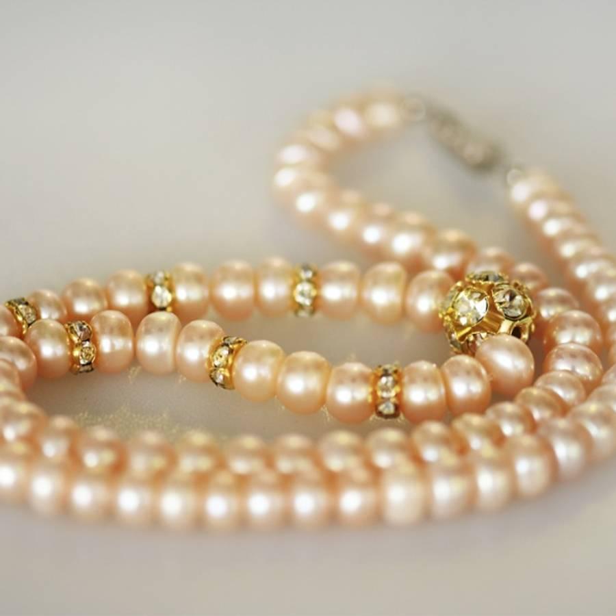 Perlekjede med skrulås, pastell/lys rosa perlemor